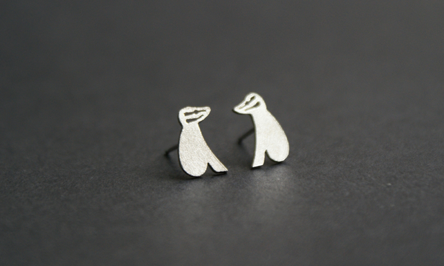 Edge of the woods badger stud earrings