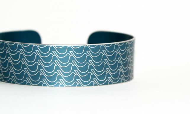 Dark blue bird print aluminium cuff