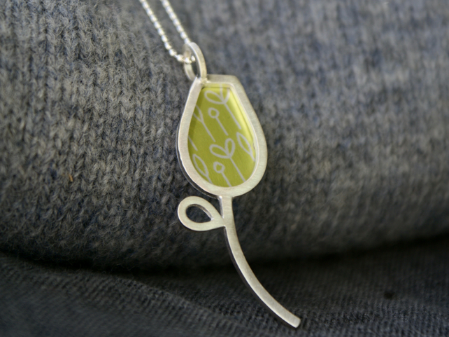 Silver and lime spring buds pendant