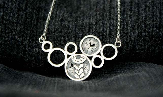 SALE 25% OFF Silver seed head circles bib necklace