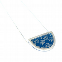 Silver and blue semi circle necklace - seed head pattern