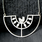 Silver bird statement bib necklace