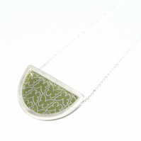 Silver and olive semi circle necklace - butterfly pattern