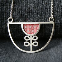 Silver and red flower bib necklace