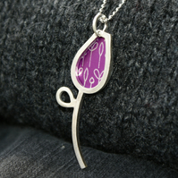 Silver and pink spring buds pendant
