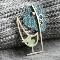 Little wren and tree brooch