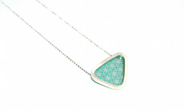 Silver and mint triangle necklace - flower pattern