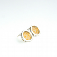 Yellow flower pattern studs - silver circle