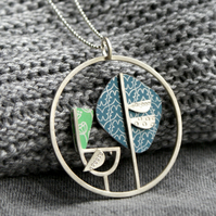 Grumpy bird necklace