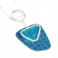 Butterfly and spring buds abstract pendant - Blue