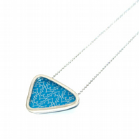 Silver and blue triangle necklace - butterfly pattern