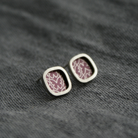Plum butterfly studs - silver square