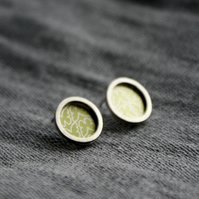 Olive butterfly pattern studs - silver circle