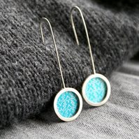 Turquoise butterfly pattern earrings - silver circle