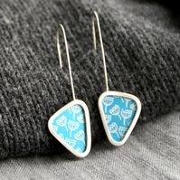 Blue seed head triangle earrings - sterling silver & aluminium