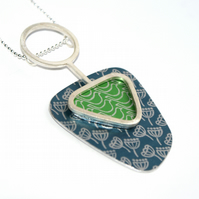 Silver, blue and green abstract pendant - seed head and birds pattern