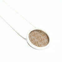 Silver and bronze circle necklace - bird pattern