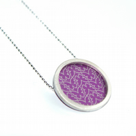 Silver and pink circle necklace - butterfly pattern
