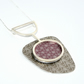 Silver, bronze and pink abstract pendant - flower and birds pattern