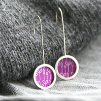 Pink spring buds pattern earrings - silver circle
