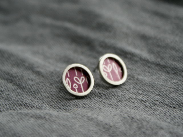 Plum spring buds pattern studs - silver circle