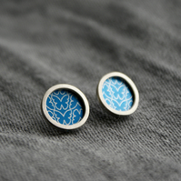 Blue butterfly pattern studs - silver circle