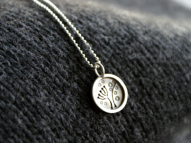SALE 25% OFF Tiny silver seed head pendant