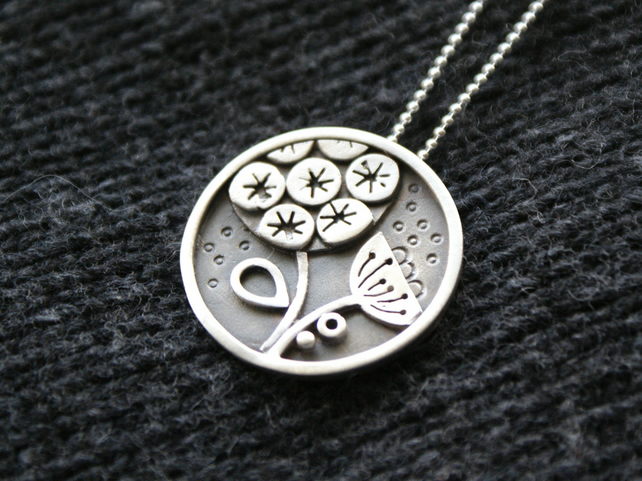 Seed head silver pendant
