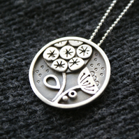 SALE 25% OFF Seed head silver pendant