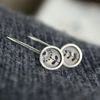 Silver flower mis-matched mini drop earrings