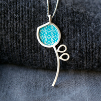 Silver and turquoise pod pendant
