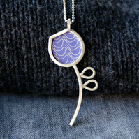 Silver and light purple pod pendant