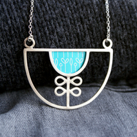 Silver and turquoise flower bib necklace