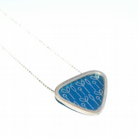 Silver and blue triangle necklace - spring buds pattern
