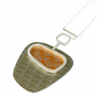 SALE 25% OFF Silver, gold and pale gold abstract pendant