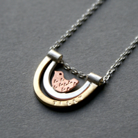 Personalised mini bird in nest necklace