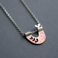 Personalised copper and silver nest necklace