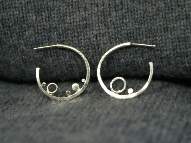Coastal silver mismatched small hoop earrings
