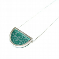 Silver and teal semi circle necklace - butterfly pattern
