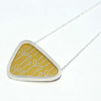 Silver and yellow triangle necklace - spring buds pattern