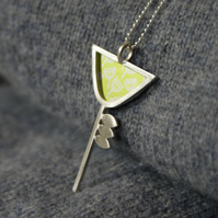 Silver and lime flower pendant