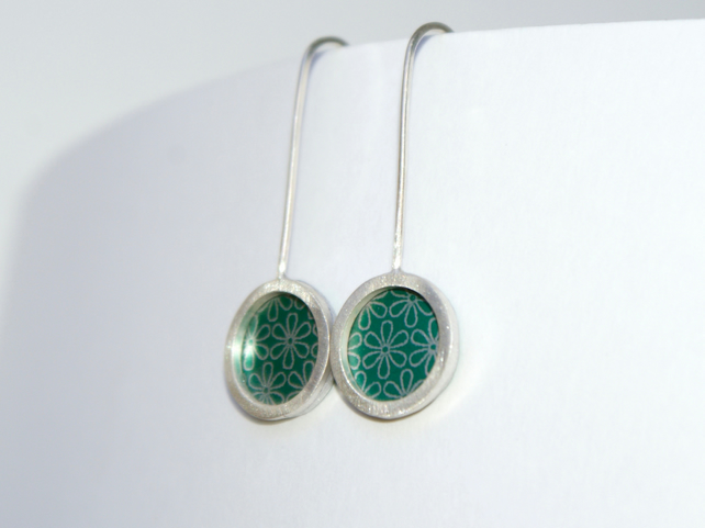 Green and silver mini drop earrings