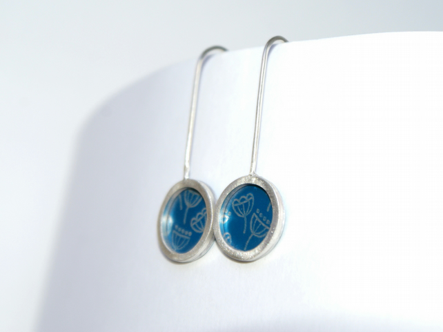 Blue and silver mini drop earrings