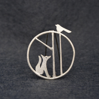 Edge of the woods fox brooch