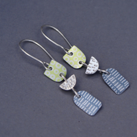 Green, grey and silver dangle earrings