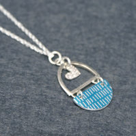 Blue and silver heart pendant