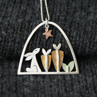 Rabbit and carrot necklace
