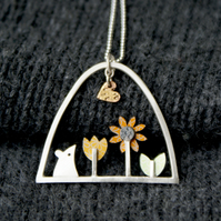 Mouse and sunflower necklace