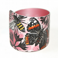 Hand printed butterfly and bee cuff red