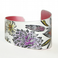Hand printed lily floral cuff
